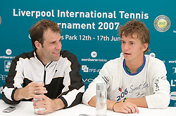 Liverpool, England - Tuesday, June 12, 2007: Greg Rusedski (GBR) with Chris Llewellyn during their post-match interview. Rusedski beat qualifier Llewellyn 6-4, 7-5 on day one of the Liverpool International Tennis Tournament at Calderstones Park. For more information visit www.liverpooltennis.co.uk. (Pic by David Rawcliffe/Propaganda)