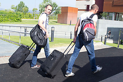 01.06.2012, Ciudad del Futbol, Madrid, ESP, UEFA EURO, Trainingscamp, Spanien, Rueckreise nach dem Trainingslager in Schruns im Vorarlberger Montafon, im Bild Victor Valdes and Andres Iniesta // during Arrival of Spanish National Footballteam // after UEFA EURO 2012 preparation camp in Schruns, Austria at Ciudad del Futbol, Madrid, Spain on 2012/06/01. EXPA Pictures © 2012, PhotoCredit: EXPA/ Alterphotos/ Marta Gonzalez..***** ATTENTION - OUT OF ESP and SUI *****
