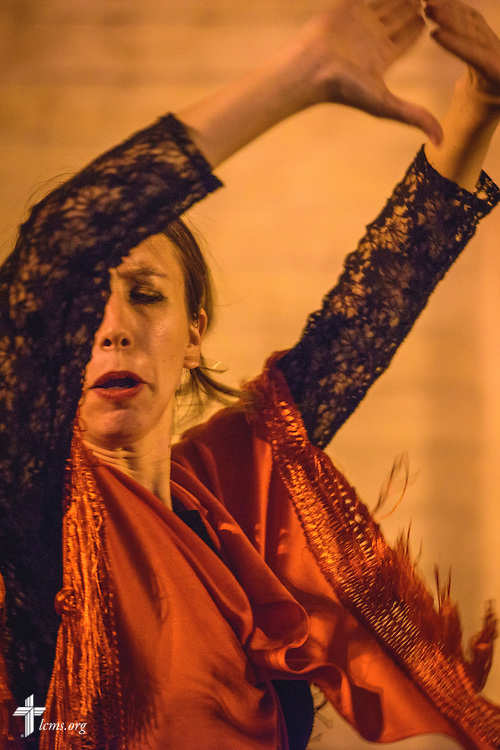 A flamenco dancer performs for passerby on Sunday evening, Nov. 6, 2016, in Seville, Spain.  LCMS Communications/Erik M. Lunsford