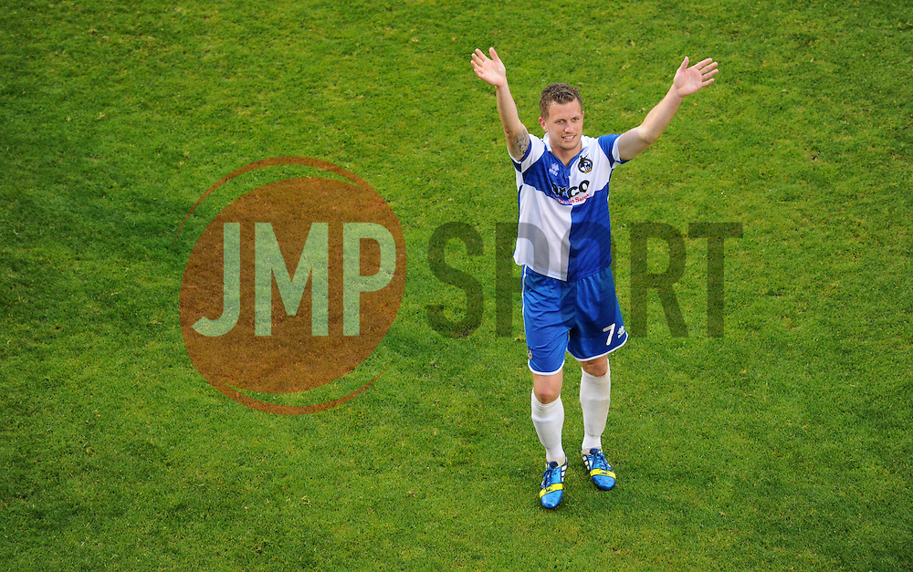 Bristol Rovers' Lee Mansell claps the home support.  - Photo mandatory by-line: Alex James/JMP - Mobile: 07966 386802 - 25/04/2015 - SPORT - Football - Bristol - Memorial Stadium - Bristol Rovers v Alfreton Town - Vanarama Football Conference