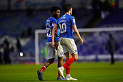 Ellis Harrison of Portsmouth and John Marquis of Portsmouth walk off together at the end of the match of the EFL Sky Bet League 1 match between Portsmouth and Shrewsbury Town at Fratton Park, Portsmouth, England on 15 February 2020.