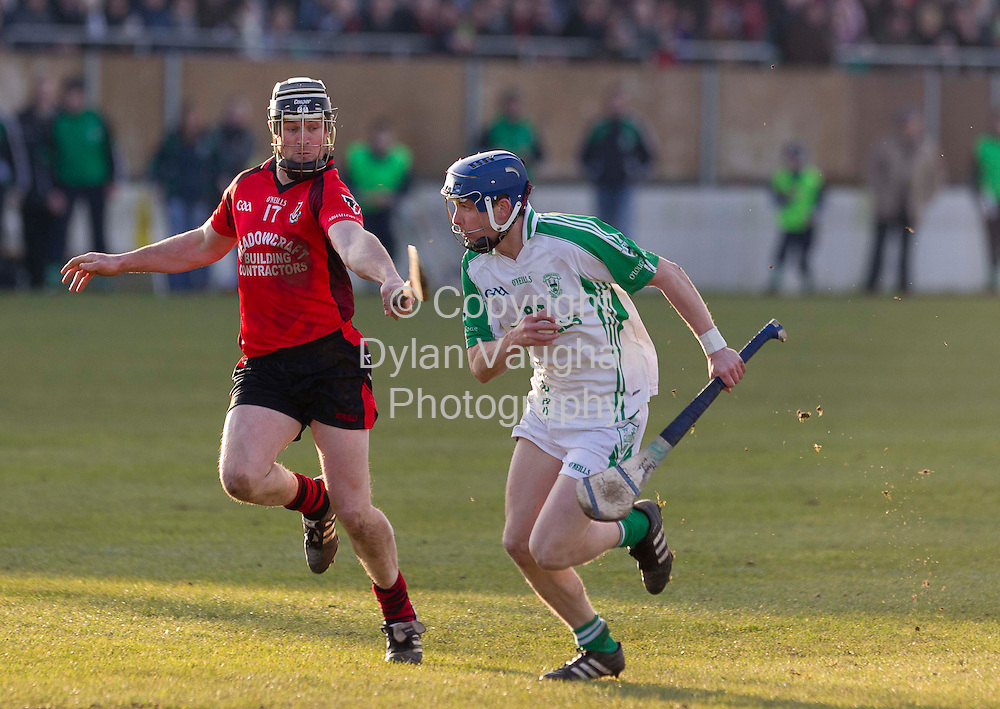 30/1/2011.Pictured in action at the Leinster Club SHC Final - O'Loughlin Gaels V Oulart The Ballagh in Dr Cullen Park Carlow was O'Loughlin Gaels Danny Loughnane (right) and Oulart The Ballagh's Darren Stamp..Picture Dylan Vaughan....