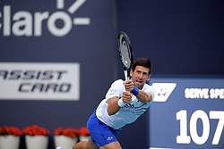 March 24, 2019 - Miami Gardens, Florida, United States Of America - MIAMI GARDENS, FLORIDA - MARCH 24: Novak Djokovic of Serbia defeats Federico Delbonis of Argentina on Day 7 of the Miami Open Presented by Itau at Hard Rock Stadium on March 24, 2019 in Miami Gardens, Florida..People: Novak Djokovic. (Credit Image: © SMG via ZUMA Wire)