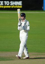 Aneurin Donald of Glamorgan celebrates his half-century  - Mandatory byline: Dougie Allward/JMP - 07966386802 - 22/09/2015 - Cricket - County Ground -Bristol,England - Gloucestershire CCC v Glamorgan CCC - LV=County Championship