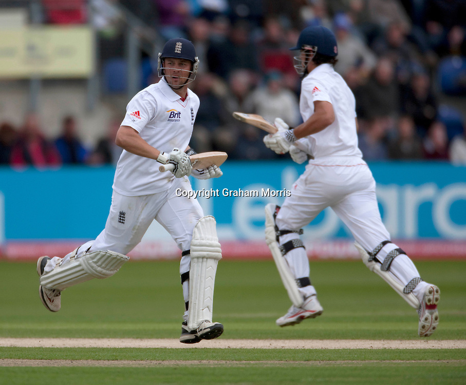 Century makers Alastair Cook and Jonathan Trott (left) during the first npower Test Match between England and Sri Lanka at the SWALEC Stadium, Cardiff.  Photo: Graham Morris (Tel: +44(0)20 8969 4192 Email: sales@cricketpix.com) 28/05/11