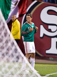 February 24, 2010; San Francisco, CA, USA;  Mexico forward Javier Hernandez (11) celebrates after scoring a goal against Bolivia during the first half at Candlestick Park.  Mexico defeate Bolivia 5-0.