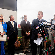 Attorney Cory Briggs calls on Mayor Bob Filner to resign at a press conference outside of Briggs Law Corporation.