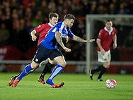 Sam Morsy of Chesterfield (nearest) loses a shoe as he is closed down by Dean Stott of FC United of Manchester during the FA Cup match at Broadhurst Park, Moston<br /> Picture by Russell Hart/Focus Images Ltd 07791 688 420<br /> 09/11/2015
