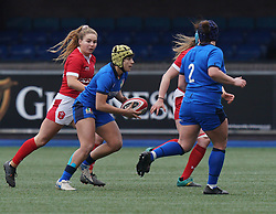 February 2, 2020, Cardiff, United Kingdom: Beatrice Rigoni (Italy) seen in action during the women's Six Nations Rugby between wales and Italy at Cardiff Arms Park in Cardiff. (Credit Image: © Graham Glendinning/SOPA Images via ZUMA Wire)