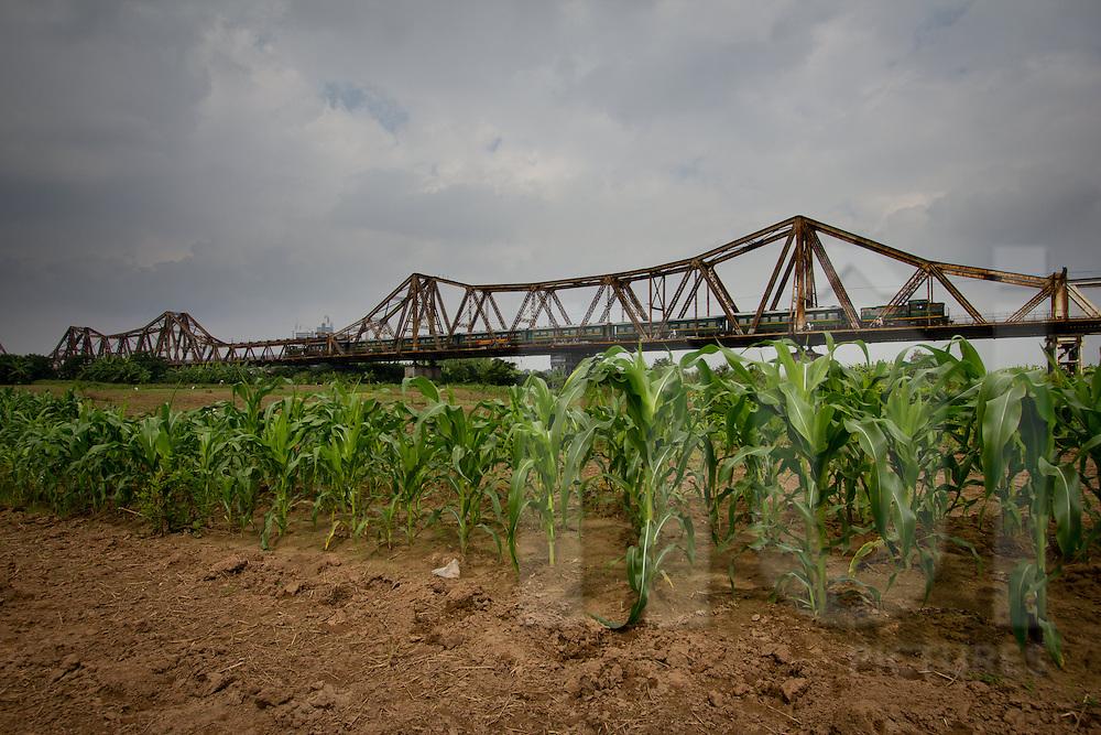 A train cross Long Bien bridge. Hanoi, Vietnam, Asia