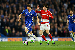 Nemanja Matic of Chelsea under pressure from Marten de Roon of Middlesbrough - Mandatory by-line: Jason Brown/JMP - 08/05/17 - FOOTBALL - Stamford Bridge - London, England - Chelsea v Middlesbrough - Premier League