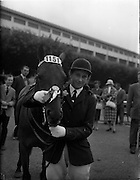 "03/08/1960<br /> 08/03/1960<br /> 03 August 1960<br /> R.D.S Horse Show Dublin (Wednesday). ""Crack-o-Dawn"", owned and ridden by Miss Rosalyn Curran, Heathlands, Lisburn, Reserve Champion Childrens Pony and winner of Class 54 at the Dublin Horse Show."