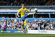Leeds United forward Patrick Bamford (9) guides the ball past Birmingham City goalkeeper Lee Camp only to see it hit the post during the EFL Sky Bet Championship match between Birmingham City and Leeds United at St Andrews, Birmingham, England on 6 April 2019.