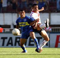 Fotball<br />Argentina<br />09/11/03 RIVER PLATE (0 ) Vs. BOCA JUNIORS (2 ). <br />IARLEY (BOCA)  and RICARDO ROJAS (RIVER)<br />Foto: Digitalsport
