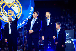 President Florentino Perez of Real Madrid, Theodore Theodoridis, General Secretary of UEFA and UEFA's president Aleksander Ceferin (R) at UEFA Champions League Trophy Cermony after the UEFA Champions League Final between Real Madrid and Liverpool at NSC Olimpiyskiy Stadium on May 26, 2018 in Kiev, Ukraine. Photo by Sandi Fiser / Sportida
