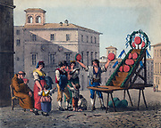 Water melon seller  -  Naples. Mid-19th century lithograph