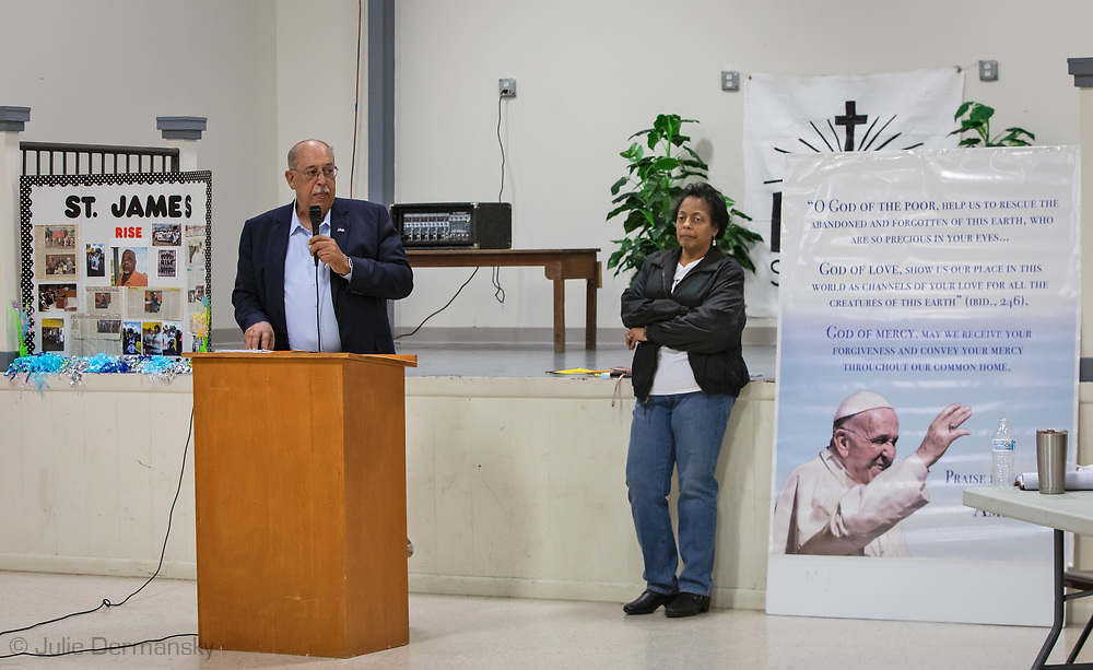 Sharon Lavinge with General Russel Honere at a RISE St. James Revivial event on Convent, Louisiana on March 21, 2019.