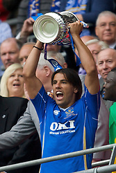 LONDON, ENGLAND - Saturday, May 17, 2008: Portsmouth's Milan Baros celebrates with the trophy after his side beat Cardiff City 1-0 during the FA Cup Final at Wembley Stadium. (Photo by David Rawcliffe/Propaganda)