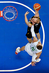Chris Kaman of Germany vs Robertas Javtokas of Lithuania during basketball game between National basketball teams of Lithuania and Germany at FIBA Europe Eurobasket Lithuania 2011, on September 11, 2011, in Siemens Arena,  Vilnius, Lithuania. Lithuania defeaed Germany 84-75. (Photo by Vid Ponikvar / Sportida)