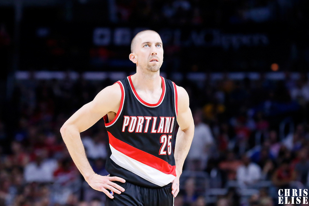 08 November 2014: Portland Trail Blazers guard Steve Blake (25) rests during the Los Angeles Clippers 106-102 victory over the Portland Trail Blazers, at the Staples Center, Los Angeles, California, USA.