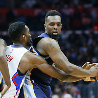 12 April 2016: Los Angeles Clippers forward Jeff Green (8) defends on Memphis Grizzlies forward P.J. Hairston (19) during the Los Angeles Clippers 110-84 victory over the Memphis Grizzlies, at the Staples Center, Los Angeles, California, USA.