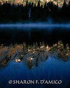 MOUNTAIN LAKE & FOG 7564.JPG  Early Morning Fog Rises on Grass-Covered Lake