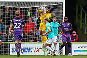 Forest Green Rovers goalkeeper Robert Sanchez(1) catches a cross during the EFL Sky Bet League 2 match between Forest Green Rovers and Port Vale at the New Lawn, Forest Green, United Kingdom on 8 September 2018.