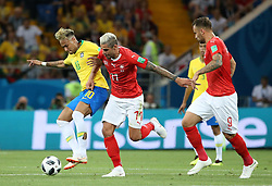 ROSTOV-ON-DON, June 17, 2018  Neymar (L) of Brazil vies with Valon Behrami (C) of Switzerland during a group E match between Brazil and Switzerland at the 2018 FIFA World Cup in Rostov-on-Don, Russia, June 17, 2018. (Credit Image: © Li Ga/Xinhua via ZUMA Wire)