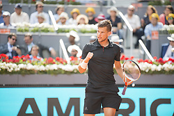 May 11, 2018 - Madrid, Madrid, Spain - DOMINIC THIEM celebrates in a match against RAFAEL NADAL during the quarter finals of Mutua Madrid Open 2018 - ATP in Madrid. DOMINIC THIEM won the match 7-5(3) 6-3. (Credit Image: © Patricia Rodrigues via ZUMA Wire)