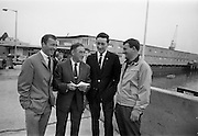 14/07/1967<br /> 07/14/1967<br /> 14 July/1967<br /> Members of the Highgate International Diving Club, London arrive in Dun Laoghaire for the PAK Diving Gala at the Blackrock Baths. Team pictured with Dano O'Brien, Eddie Heron and Billy Morrison of Sandycove Diving Club. Team includes Alan Roberts; Rene Rasch; Robin Baskerville and Terry Erard.