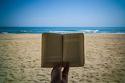 Tranquil seascape behind an open book on the beach of Lang Co, Phu Loc District, Thua Thien-Hue Province, Vietnam, Southeast Asia