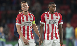 October 4, 2018 - Eindhoven, Netherlands - Luuk de Jong and Pablo Rosario of PSV dejected during the UEFA Champions League Group B match between PSV Eindhoven and FC Internazionale Milano at Philips Stadium in Eindhoven, Holland on October 3, 2018  (Credit Image: © Andrew Surma/NurPhoto/ZUMA Press)