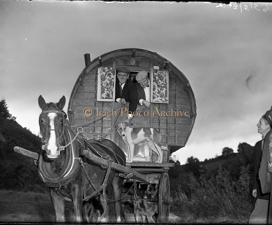 Travelling family, the Murphy's, at Kilpedder, Co, Wicklow, 13/10/1958, barrel, top, wagon, Tinker,