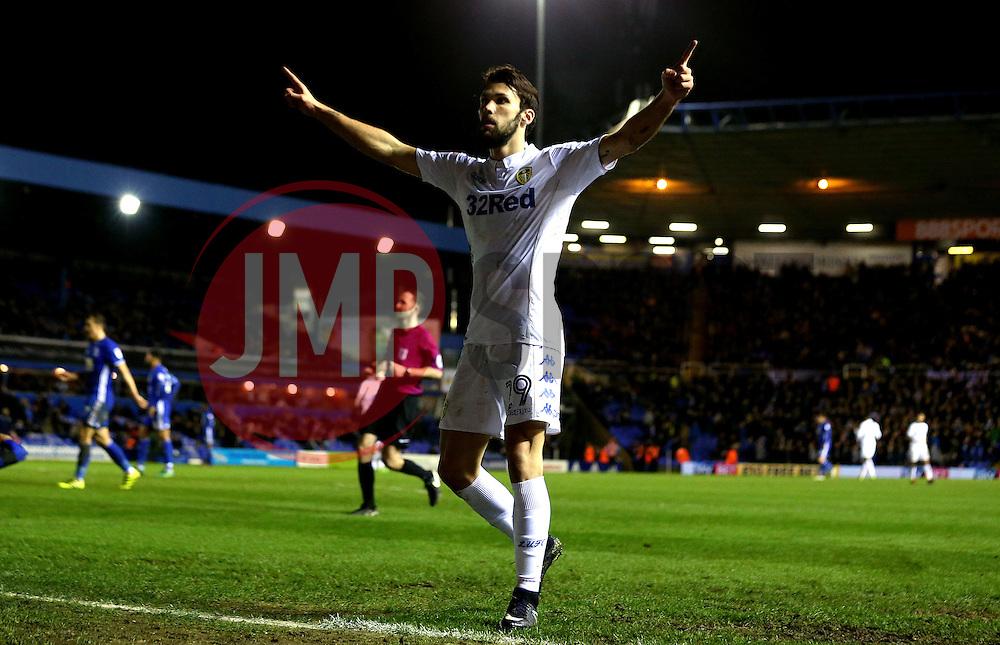 Alfonso Pedraza of Leeds United celebrates scoring a goal to make it 3-1 - Mandatory by-line: Robbie Stephenson/JMP - 03/03/2017 - FOOTBALL - St Andrew's Stadium - Birmingham, England - Birmingham City v Leeds United - Sky Bet Championship