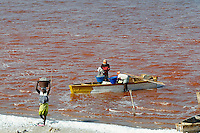 Sénégal, le lac salé Redba ou Lac Rose, Recolte du sel // Senegal, Redba salt lake or Pink Lake. Salt collect