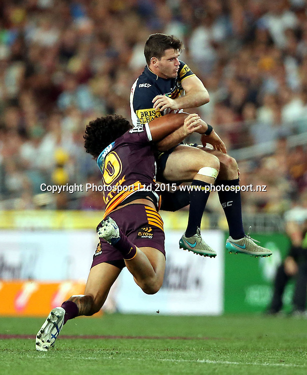 Lachlan Coote tackled late by Sam Thaiday<br /> Broncos v Cowboys NRL Grand Final rugby league match at ANZ Stadium, Homebush Australia. Sunday 4 October 2015. Photo: Paul Seiser/Photosport.nz