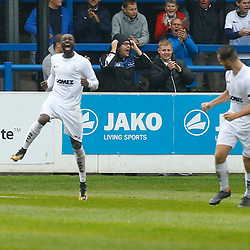 Dovers midfielder Bedsenté Gomis celebrates scoring during the National League match between Dover Athletic FC and Salford City FC at Crabble Stadium, Kent on 06 October 2018. Photo by Matt Bristow.