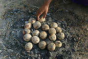 Pilgrims cook dough in the ash of a campfire near the Shipra River which flows through the holy city of Ujjain, in the central Indian state of Madhya Pradesh during the Hindu festival of Kumbh Mela. Every 12 years, millions of devout Hindus celebrate the month-long festival of Kumbh Mela by bathing in the Shipra's holy waters. Hundreds of ashrams set up dusty, sprawling camps that stretch for miles.