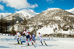 February 2, 2018 - Goms, Switzerland - Eirik Sverdrup Augdal of Norway and Eddie Edstrom of Sweden compete in the men's 15/15 km skiathlon during the FIS U23 Cross-Country World Ski Championships. (Credit Image: © Vegard Wivestad Grott/Bildbyran via ZUMA Press)