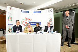 CARDIFF, WALES - Tuesday, August 14, 2012: Gwyn Derfel, Ronnie Corbett, the sporting ambassador ot Corbett Sport, Wales national team manager Chris Coleman, S4C's Head of Programming Geraint Rowlands and FAW's head of pubic affairs Ian Gwyn Hughes during the launch the 2012/2013 Welsh Premier League at the St. David's Hotel. (Pic by David Rawcliffe/Propaganda)