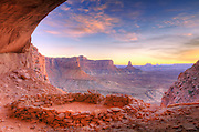 Evening light on False Kiva, Island in the Sky, Canyonlands National Park, Utah USA