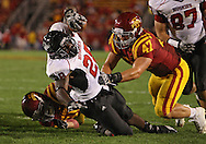 September 2 2010: Northern Illinois Huskies running back Chad Spann (28) dives for the end zone during the second half of the NCAA football game between the Northern Illinois Huskies and the Iowa State Cyclones at Jack Trice Stadium in Ames, Iowa on Thursday September 2, 2010. Iowa State defeated Northern Illinois 27-10.