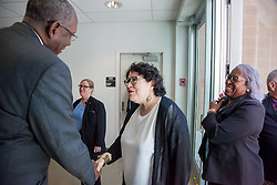 Dr. David Hall welcomes Justice Sotomayor to the university convocation with the Honorable Wilma A. Lewis, Chief Judge, District Court of hte Virgin Islands, St. Croix Division on the right.  2017 Student Convocation with featured honored guest the Honorable Sonia Sotomayor, Associate Justice, United States Supreme Court.  UVI Sports and Fitness Center.  St. Thomas, USVI.  9 February 2017.  © Aisha-Zakiya Boyd