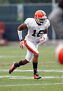 Cleveland Browns wide receiver Joshua Cribbs (16) goes out for a pass during NFL football training camp at the Cleveland Browns Training Complex on Monday, August 9, 2010 in Berea, Ohio. (©Paul Anthony Spinelli)