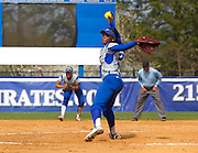 Hampton senior Travonna Byrd pitched a 3 hit complete game against Central Connecticut during their softball game at the Lady Pirates Softball Complex in Hampton, Va.   Hampton won 3 - 1.  March 18, 2012  (Photo by Mark W. Sutton)