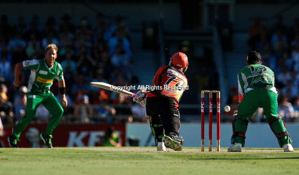 21.01.2012. Perth Australia. Big Bash Cricket.  Shane Warne beats Herschell Gibbs outside off stump in the Semi Final between the Perth Scorchers and Melbourne Stars.