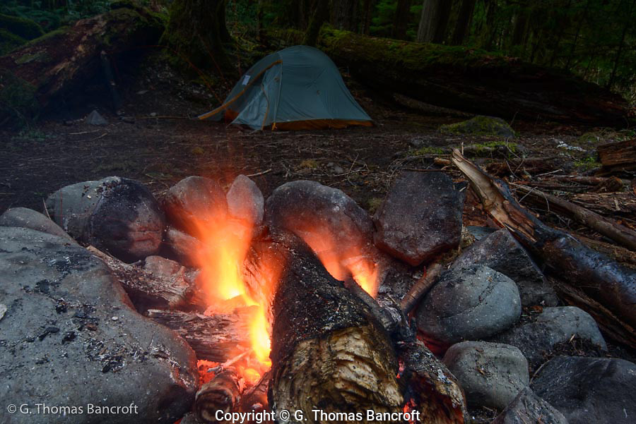 My camp fire at Lillian River camp.