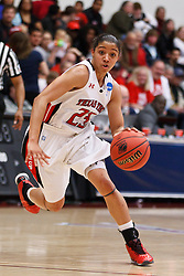March 19, 2011; Stanford, CA, USA; Texas Tech Lady Raiders guard Monique Smalls (23) dribbles the ball against the St. John's Red Storm during the second half of the first round of the 2011 NCAA women's basketball tournament at Maples Pavilion. St. John's defeated Texas Tech 55-50.