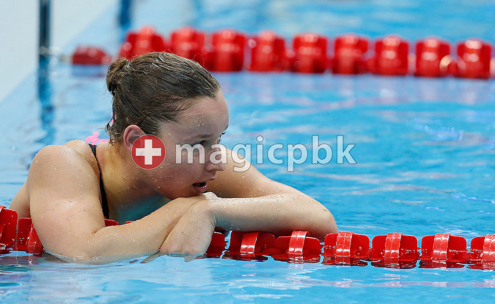 Silke Lippok of Germany reacts after competing in the women's 200m Freestyle Heats during the Swimming competition held at the Aquatics Center during the London 2012 Olympic Games in London, Great Britain, Monday, July 30, 2012. (Photo by Patrick B. Kraemer / MAGICPBK)