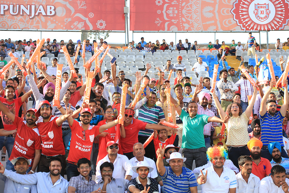 Fans during match 46 of the Vivo Indian Premier League ( IPL ) 2016 between the Kings XI Punjab and the Sunrisers Hyderabad held at the IS Bindra Stadium, Mohali, India on the 15th May 2016<br /> <br /> Photo by Arjun Singh / IPL/ SPORTZPICS
